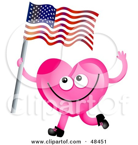 Royalty-Free (RF) Clipart Illustration of a Pink Love Heart Waving An American Flag by Prawny