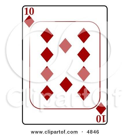 Ten/10 of Diamonds Playing Card Clipart by djart