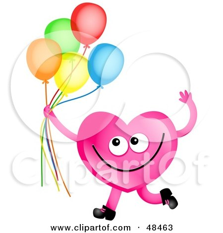Royalty-Free (RF) Clipart Illustration of a Pink Love Heart Holding Balloons by Prawny