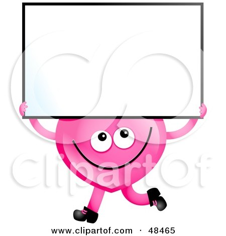 Royalty-Free (RF) Clipart Illustration of a Pink Love Heart Holding A Blank Sign by Prawny