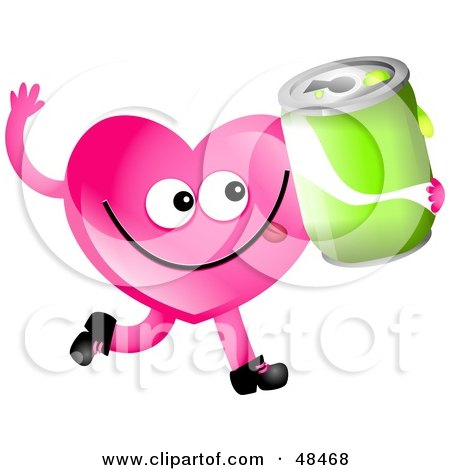 Royalty-Free (RF) Clipart Illustration of a Pink Love Heart Holding A Soda by Prawny