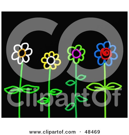 Royalty-Free (RF) Clipart Illustration of Colorful Stick Flowers On Black by Prawny