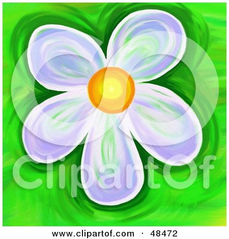 Royalty-Free (RF) Clipart Illustration of a Purple Daisy on Green by Prawny
