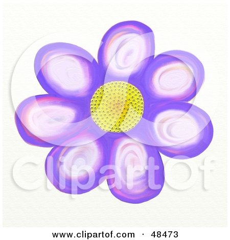 Royalty-Free (RF) Clipart Illustration of a Yellow Centered Purple Daisy by Prawny