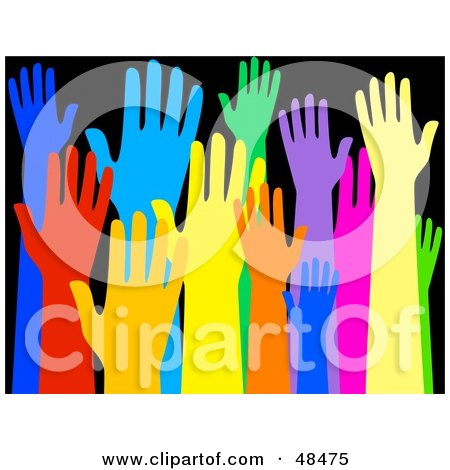 Royalty-Free (RF) Clipart Illustration of a Diverse And Colorful Group Of Raised Hands On Black by Prawny