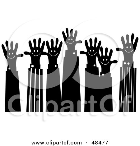 Royalty-Free (RF) Clipart Illustration of a Black And White Handy Hand Business Team by Prawny