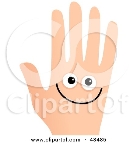 Smiley Face Hand On White Posters, Art Prints