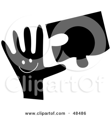 Royalty-Free (RF) Clipart Illustration of a Black And White Handy Hand Holding A Puzzle Piece by Prawny