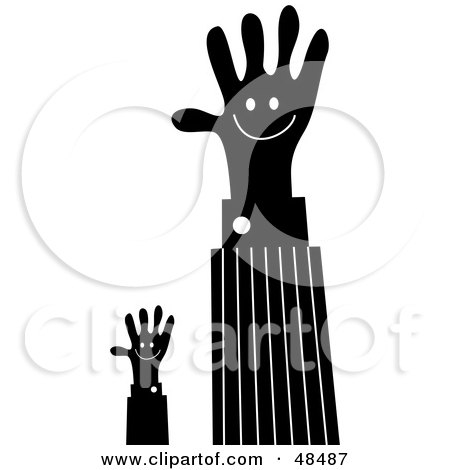 Royalty-Free (RF) Clipart Illustration of Black Handy Hands Waving by Prawny