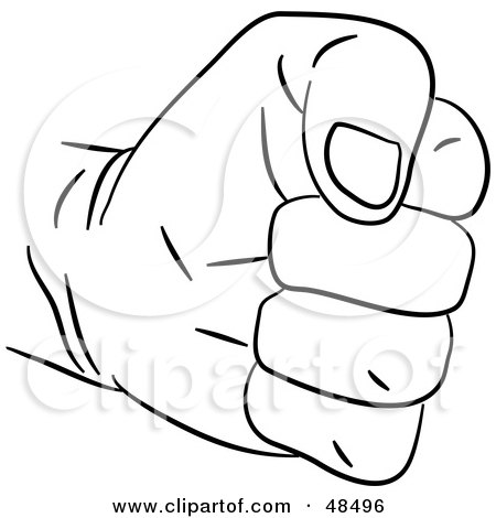RoyaltyFree RF Clipart Illustration of a Black And White Fisted Hand by