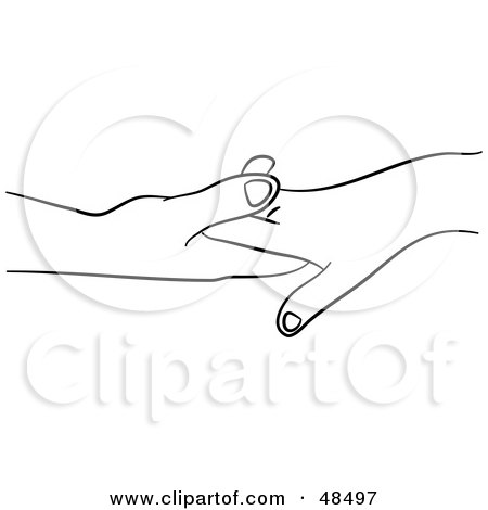 Royalty-Free (RF) Clipart Illustration of a Pair of Black And White Touching Hands by Prawny