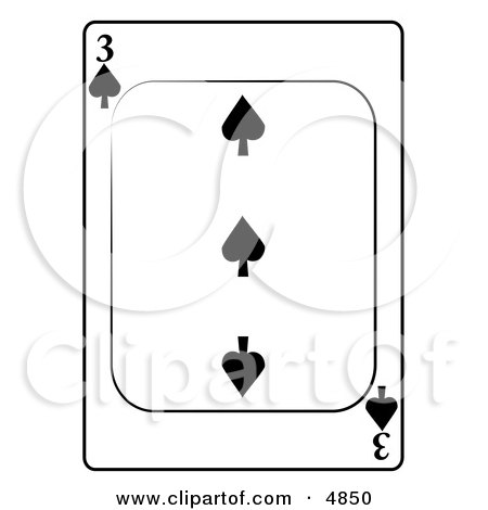 Three/3 of Spades Playing Card Clipart by djart