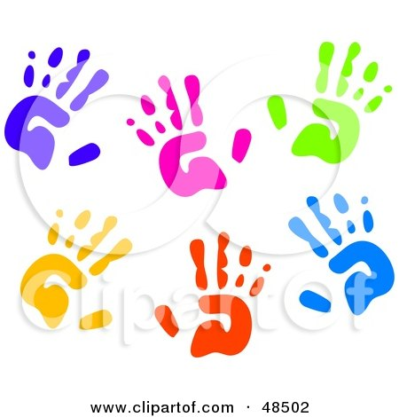 Royalty-Free (RF) Clipart Illustration of a White Background Of Colorful Hand Prints by Prawny