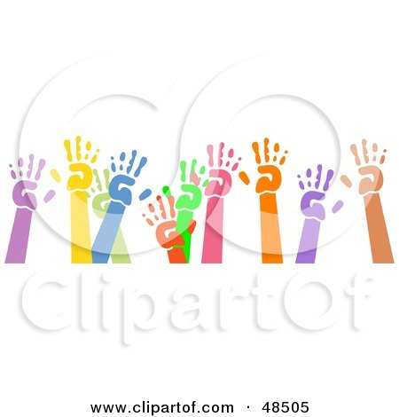 Royalty-Free (RF) Clipart Illustration of a Group Of Raised Colorful Hand Prints On White by Prawny