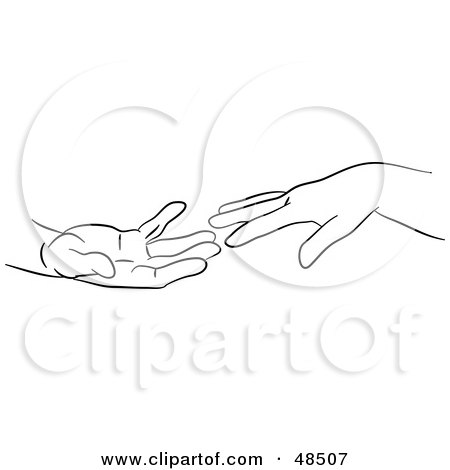 Royalty-Free (RF) Clipart Illustration of a Black And White Outline Of Hands Reaching by Prawny