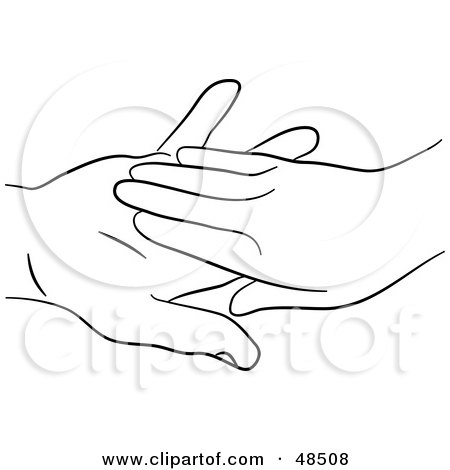 Royalty-Free (RF) Clipart Illustration of a Black And White Outline Of Hands Touching by Prawny