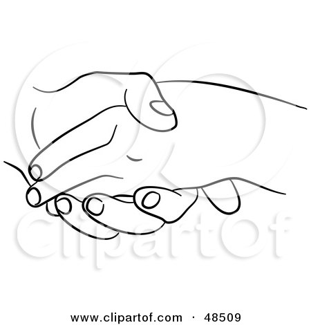 Royalty-Free (RF) Clipart Illustration of a Black And White Outline Of Hands Holding Or Shaking by Prawny