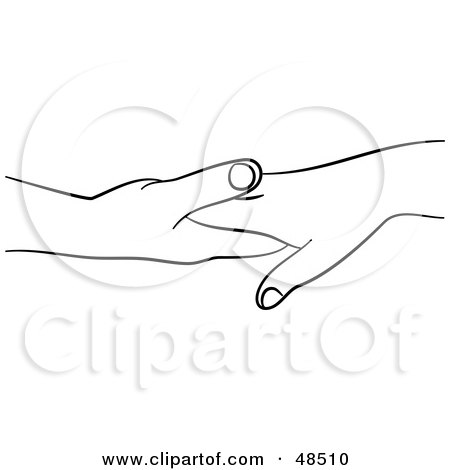 Royalty-Free (RF) Clipart Illustration of a Pair of Black And White Hands Touching by Prawny