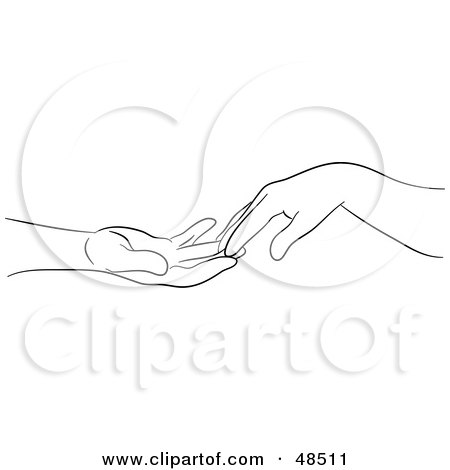 Royalty-Free (RF) Clipart Illustration of a Black And White Outline Of Hands Gently Touching by Prawny