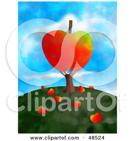 Royalty-Free (RF) Clipart Illustration of an Apple Tree With Fruits Falling On The Hill Top by Prawny