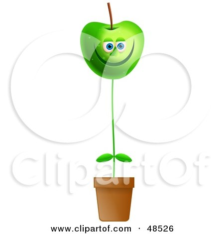 Royalty-Free (RF) Clipart Illustration of a Happy Green Apple Potted Plant by Prawny