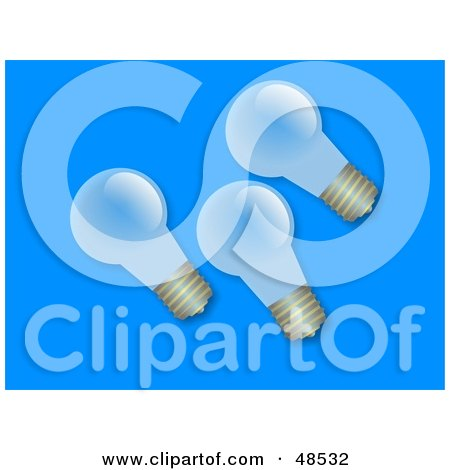 Royalty-Free (RF) Clipart Illustration of Three Transparent Light Bulbs On Blue by Prawny