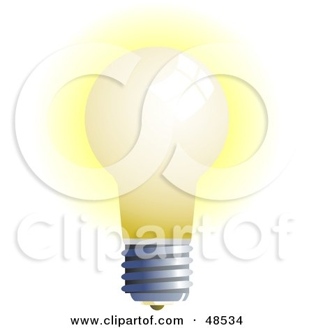 Royalty-Free (RF) Clipart Illustration of a Glowing White Light Bulb on White by Prawny
