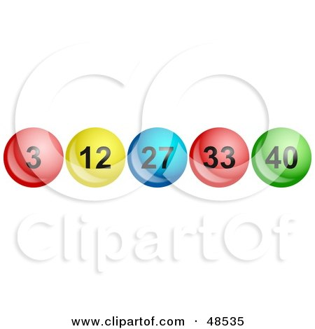 Royalty-Free (RF) Clipart Illustration of a Row Of Shiny Lottery Balls With Numbers by Prawny