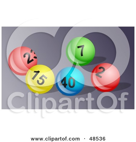 Royalty-Free (RF) Clipart Illustration of Bright And Shiny Lottery Balls On A Gray Surface by Prawny