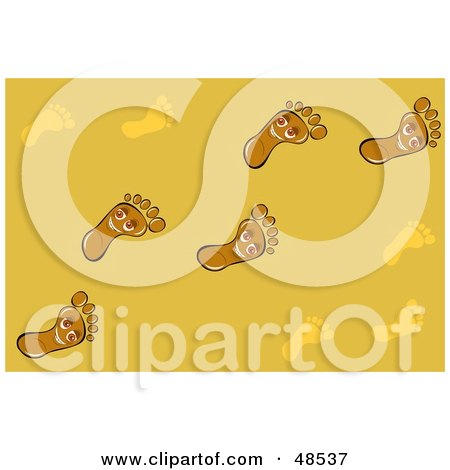 Royalty-Free (RF) Clipart Illustration of a Yellow Background Of Happy Foot Trails by Prawny