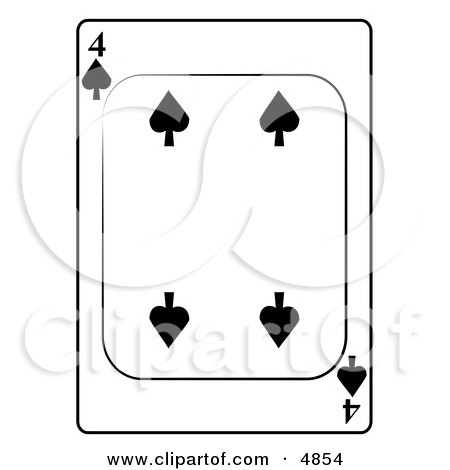 Four/4 of Spades Playing Card Clipart by djart