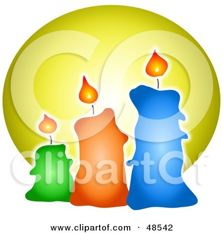 Royalty-Free (RF) Clipart Illustration of Three Lit Wax Candles by Prawny