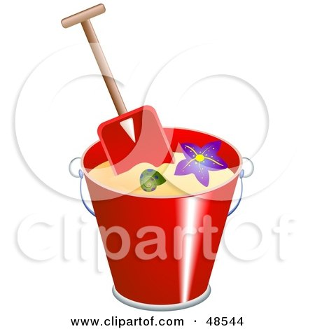 Royalty-Free (RF) Clipart Illustration of a Spade In A Bucket With Sand, Shells And A Starfish by Prawny