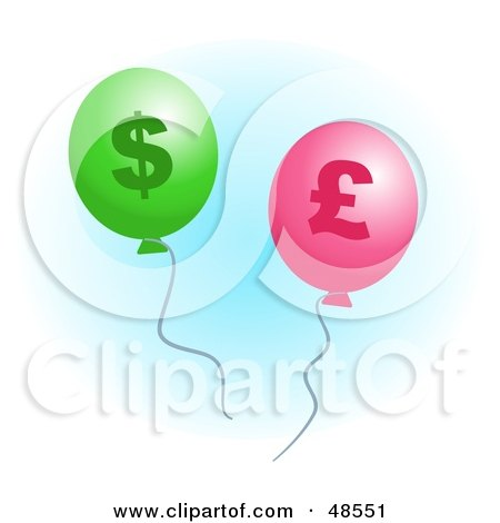Royalty-Free (RF) Clipart Illustration of Green And Pink Pound And Dollar Inflation Balloons by Prawny