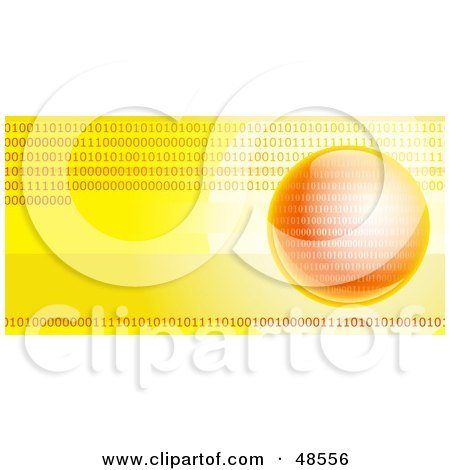 Royalty-Free (RF) Clipart Illustration of a Yellow And Orange Binary Globe Website Header by Prawny