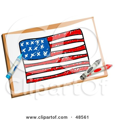 Royalty-Free (RF) Clipart Illustration of Crayons Resting On A Drawing Of The American Flag by Prawny