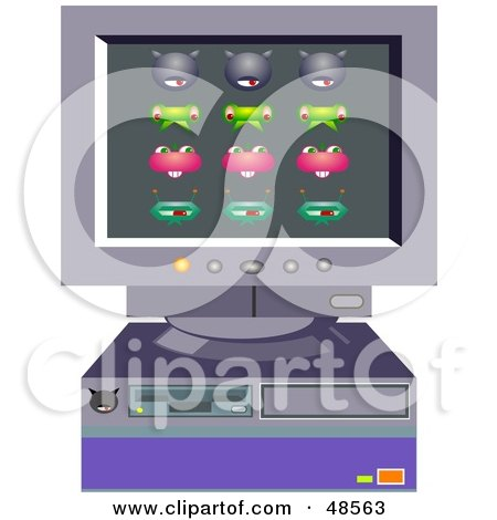 Royalty-Free (RF) Clipart Illustration of a Retro Desktop Computer With Viruses by Prawny