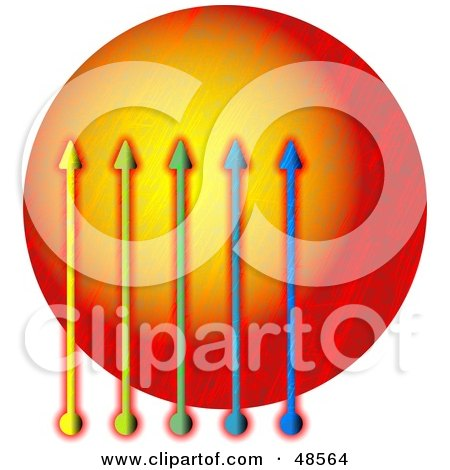 Royalty-Free (RF) Clipart Illustration of a Graph Of Arrows Over An Orange Circle by Prawny