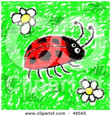 Royalty-Free (RF) Clipart Illustration of a Child's Drawing Of A Ladybug And Flowers by Prawny
