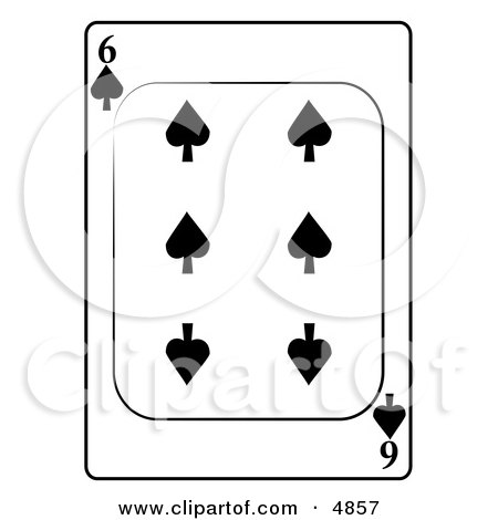 Six/6 of Spades Playing Card Clipart by djart