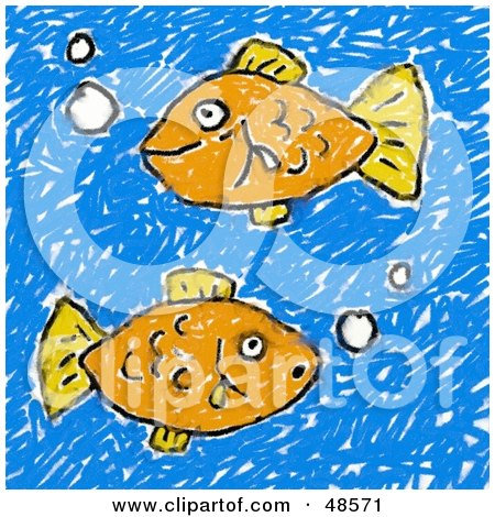 Royalty-Free (RF) Clipart Illustration of a Child's Drawing Of Two Orange Fish by Prawny
