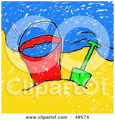 Royalty-Free (RF) Clipart Illustration of a Child's Drawing Of A Beach Bucket And Shovel On A Beach by Prawny