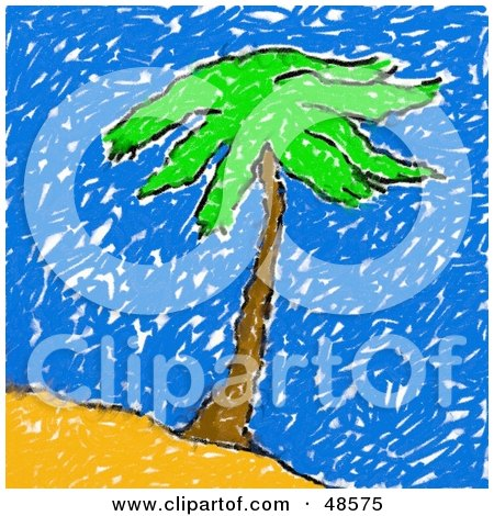 Royalty-Free (RF) Clipart Illustration of a Child's Drawing Of A Palm Tree by Prawny