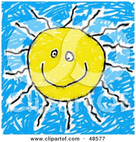 Royalty-Free (RF) Clipart Illustration of a Child's Drawing Of A Happy Sun by Prawny