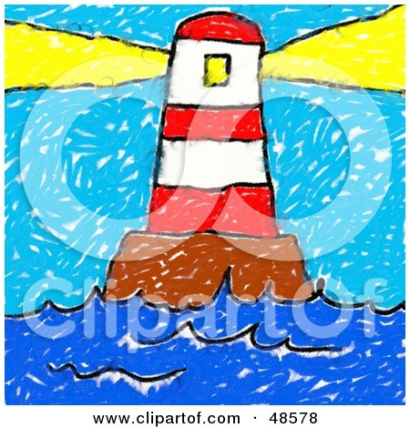 Child's Drawing Of A Lighthouse Shining Its Beacon Posters, Art Prints