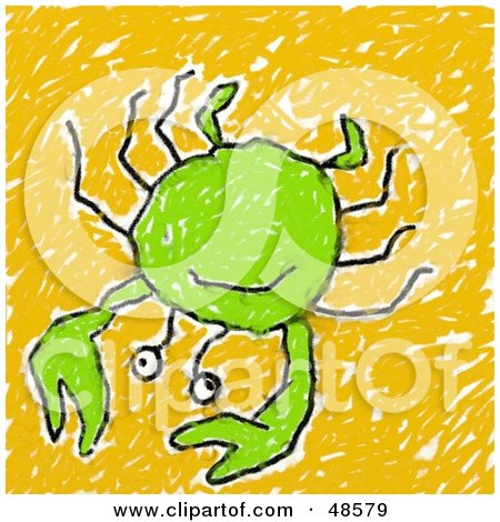 Royalty-Free (RF) Clipart Illustration of a Child's Drawing Of A Green Crab by Prawny