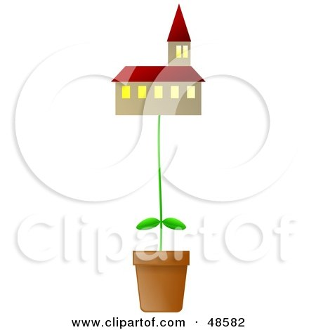 Royalty-Free (RF) Clipart Illustration of a Potted Plant Growing a Church by Prawny