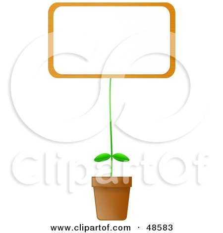 Royalty-Free (RF) Clipart Illustration of a Blank Billboard Sign Potted Plant by Prawny