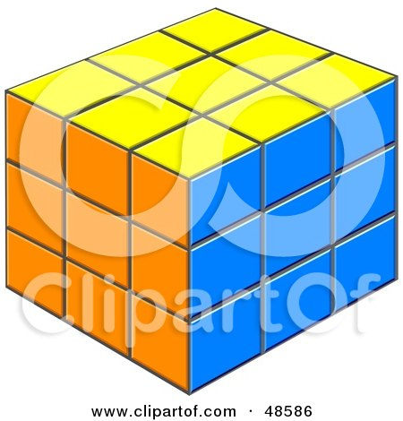Royalty-Free (RF) Clipart Illustration of a Solved Yellow, Orange And Blue Puzzle Cube by Prawny