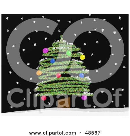 Royalty-Free (RF) Clipart Illustration of a Christmas Tree With Colorful Baubles, On A Black Snowy Night by Prawny